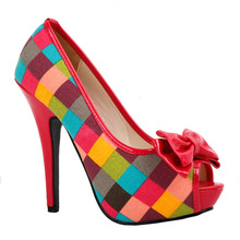 LF30472 Sexy Multi Coloured Check Tartan Bow Platform Stiletto Shoes Size 4 5 6 7 8