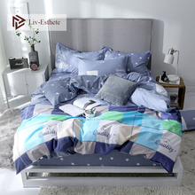 Liv-Esthete Fashion Stripe Bedding Set High Quality Soft Duvet Cover Pillowcase Bed Linen Rubber Sheet Fitted Wholesale