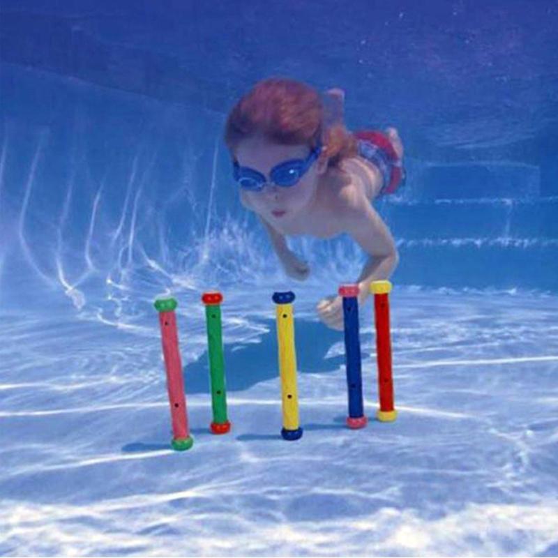 5pcs/Set Kids Underwater Playing Diving Toy Diving Grab Sticks Pool Play Outdoor Sport Swimming Learning for for Water Sports 4pcs underwater diving torpedo toys set for kids