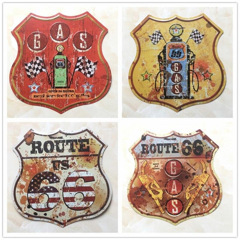 Route 66 bouclier forme Vintage métal signes enseigne pour Station-service Garage rétro Plaque décorative peinture Plaque 30.5*30 CM D001
