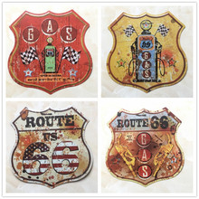 Route 66 Shield Shape Vintage Metal Signs Signboard For Gas Station Garage Retro Plaque Decorative Painting Plate 30.5*30CM D001