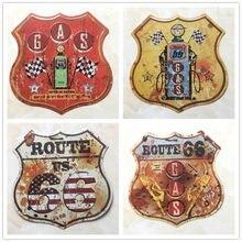 Letrero de Metal con forma de escudo de Route 66, placa decorativa de 30,5x30CM, para gasolinera, garaje, Retro, D001