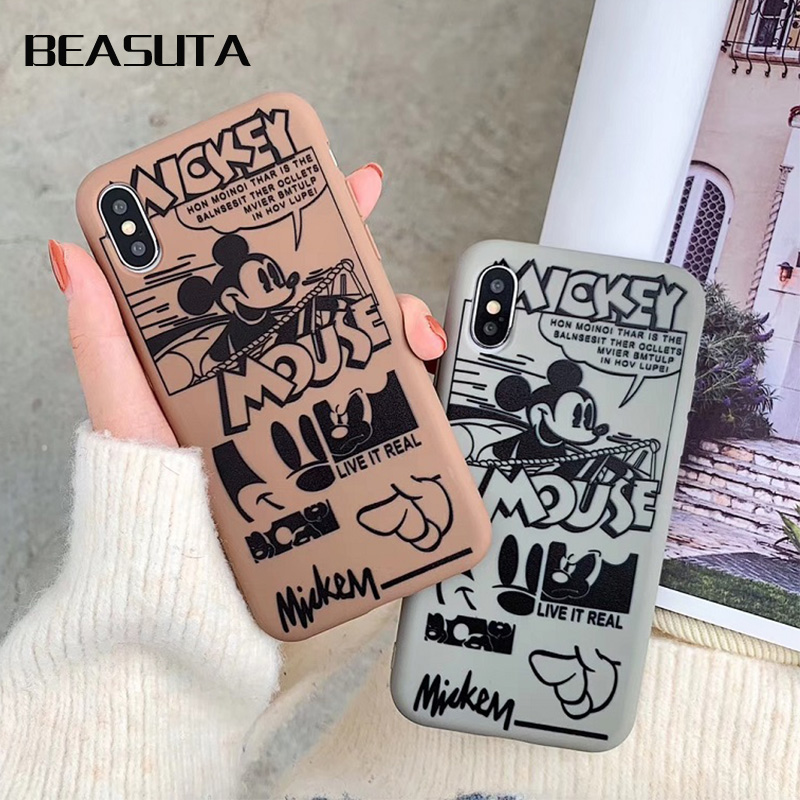 Minnie Mickey Matte phone cases for iphone X XR XS XS Max Cute Cartoon Mickey Soft TPU case For iphone 6 6s 7 8 plus back cover