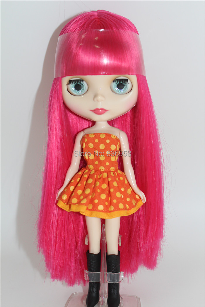 купить Free shipping icy blyth doll bjd BL1290 pink straight hair with bangs/fringes normal body shiny face gift toy 1/6 30cm онлайн