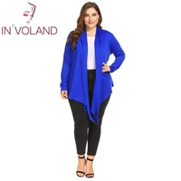 IN VOLAND Oversized 4XL Women S Cardigan Large Long Sleeve Coat Open Front Draped Irregular Casual