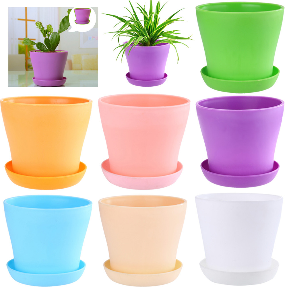 Colourful Mini Plastic Flower Pot Succulent Plant Flowerpot Home Office Decor 9*14*8cm Living Room Planter Potted Pot#10