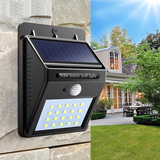 Solar light Outdoor Garden Security Led Solar Powered Panel Lamp Wall Lampada PIR Motion Sensor Waterproof IP65 Decorative