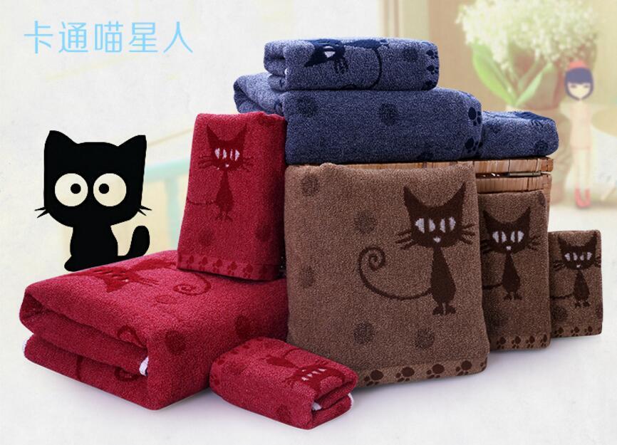 3pcs/set deep red/deep blue/brown black cat embroidered thick cotton bath towel 70x140cm face towel 35x75cm small towel 50x20cm