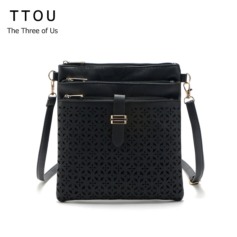 Retro Small Casual Women Messenger Bags PU Leather Hollow Out Flap Fashion Shoulder Bag Vintage Handbags Bolsas Feminina TTOU vogue star summer bag famous brand women messenger bag pu leather women shoulder bag small mini flap bag bolsas lb14