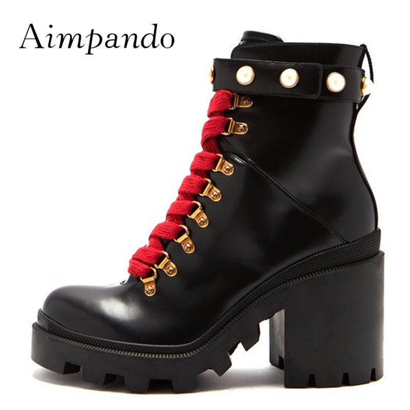 2019 Real Leather Black Ankle Boots Women Round Toe Mixed Color Pearl Rivet High Heel Boots