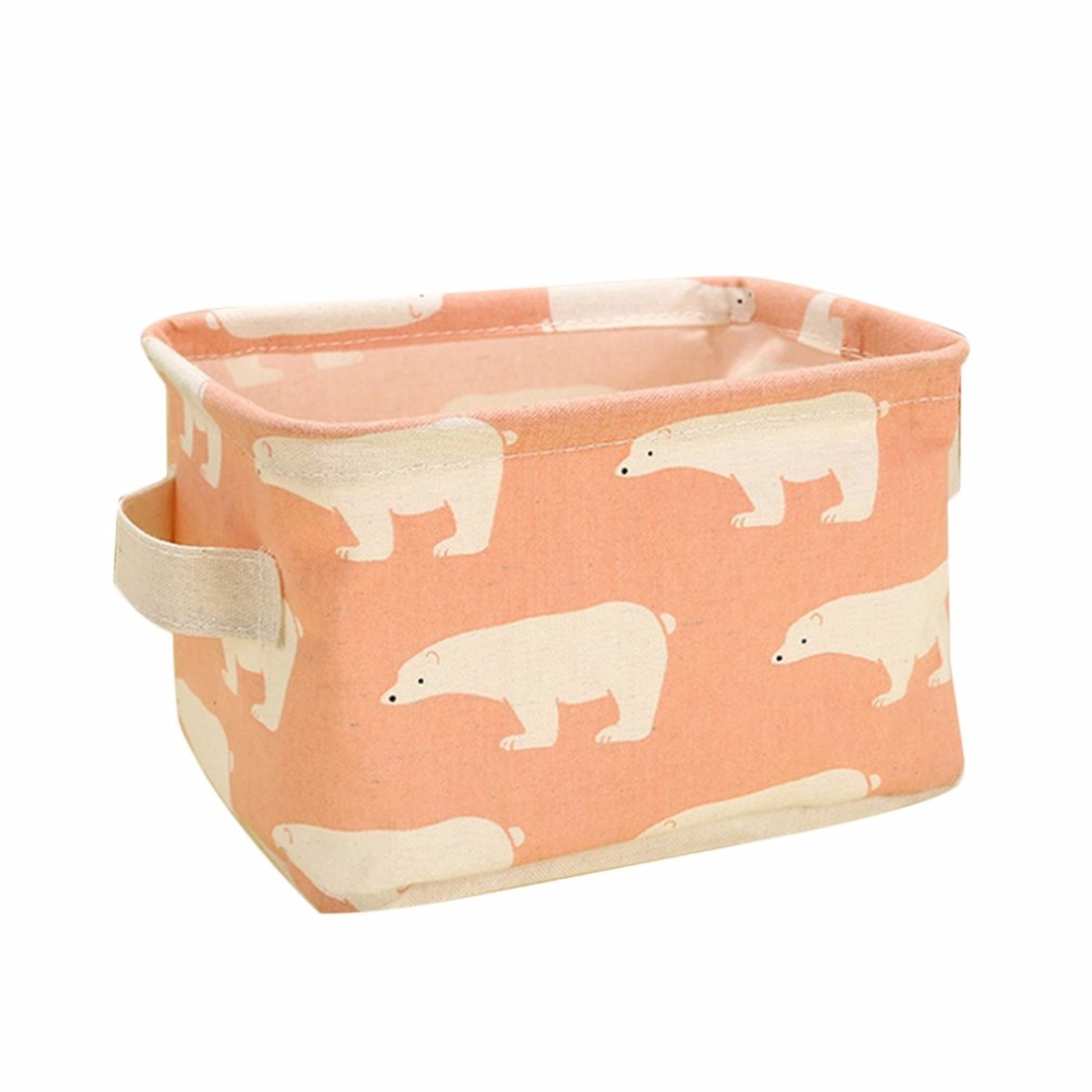 Fabric Storage Basket Box Useful Home Supplies Sundries Container Holder Household Desktop Jewelry Makeup Folding Organizer