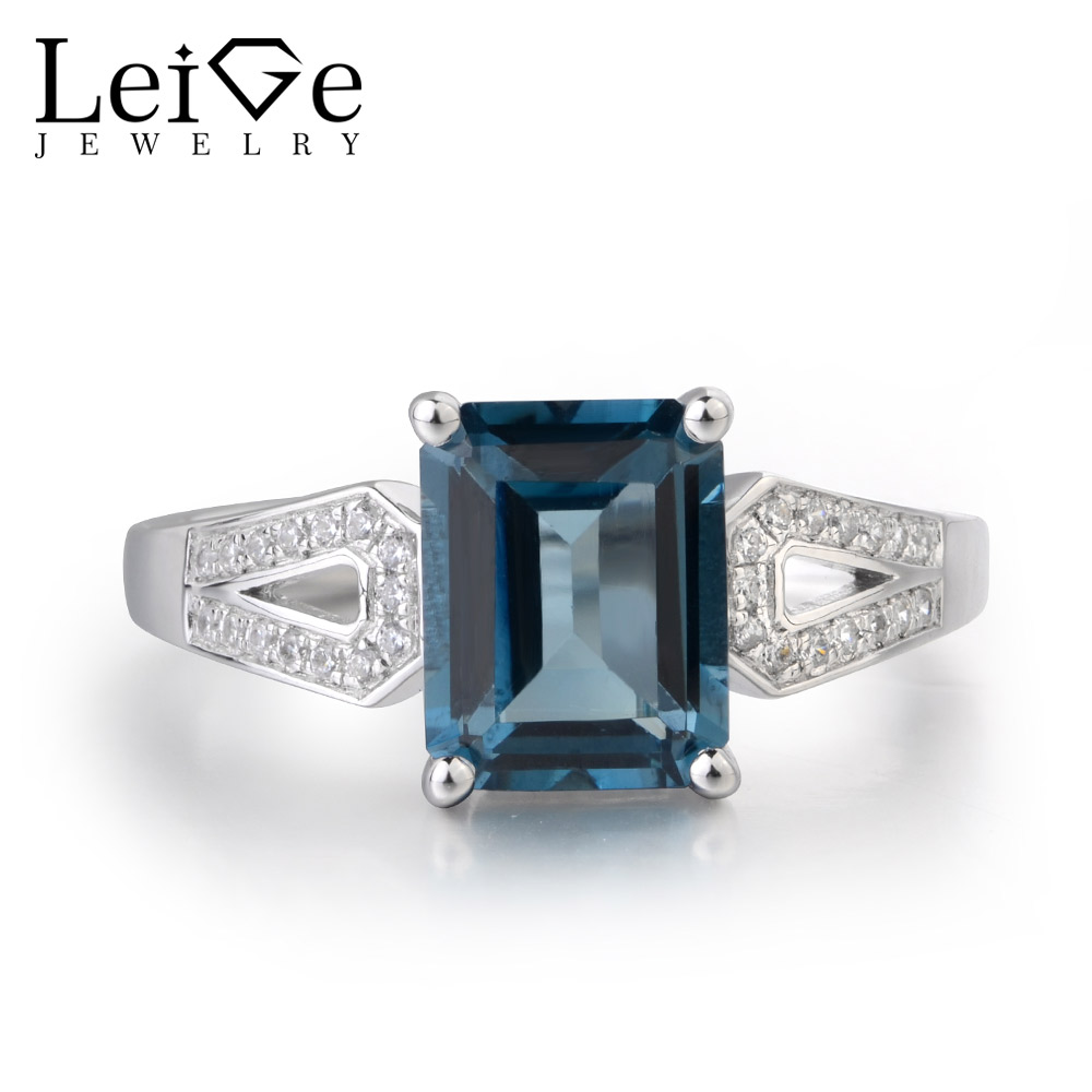 Здесь можно купить  Leige Jewelry Natural London Blue Topaz Gemstone 925 Sterling Silver November Birthstone Emerald Cut Engagement Rings FOR Woman  Ювелирные изделия и часы