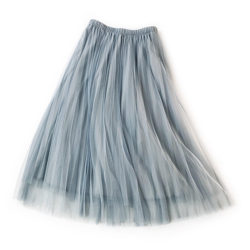 LANMREM 2020 New Summer Fashion Women Clothes A-line High Waist Elastic Pleated Mesh Long Halfbody Skirt Female Bottom WH2830