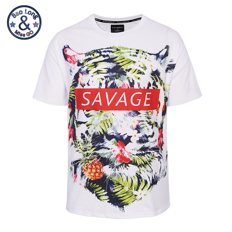 6f25b8d2bc75 2017 New Big Tall Mens Clothes Fashion Brand 3d Animal Print Short Sleeve O  Neck T Shirt Homme Summer Tops Casual Hip Hop Tees-in T-Shirts from Men's  ...