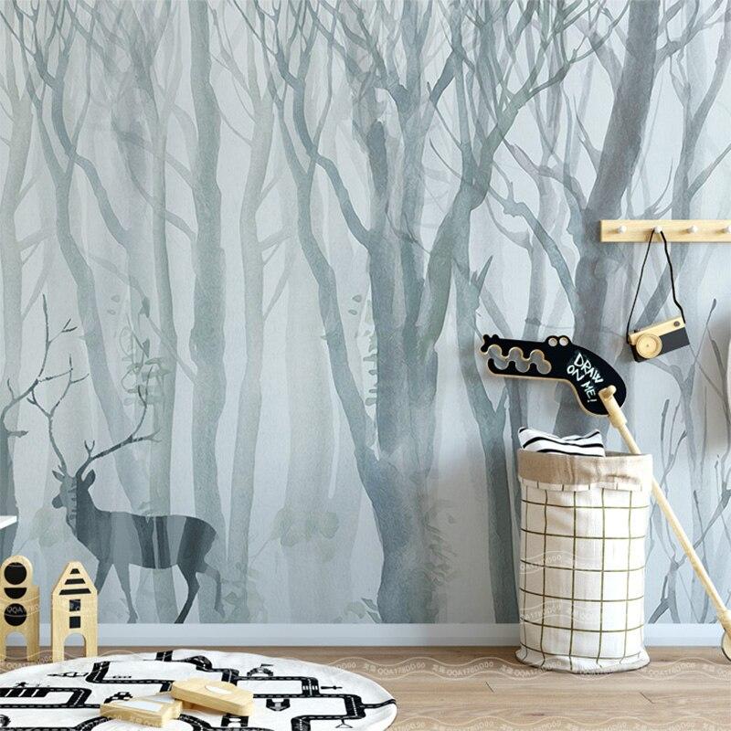 Custom 3D Wallpaper Modern Nordic Forest Elk Hand Painted Forest Mural Living Room Bedroom Sofa Backgrounds  3D Papel De Parede