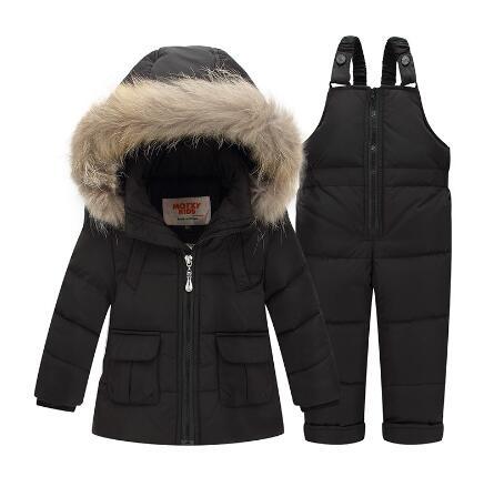 Children Winter Suits 2-4Years Boys Girls Ski Suit Kids Clothing Set Baby Duck Down Jacket Coat + Overalls Warm Child Snowsuit цена
