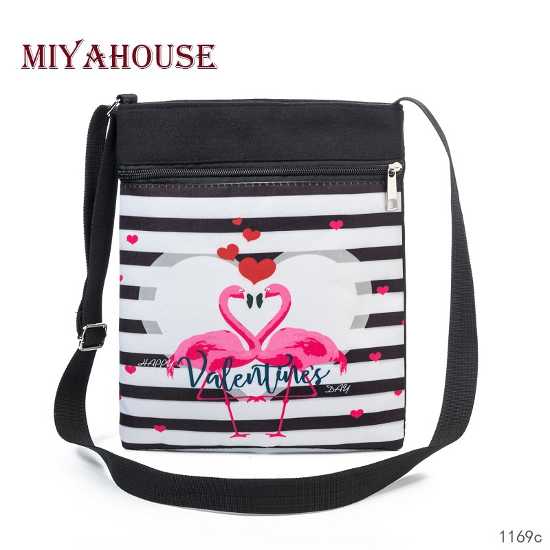 Miyahouse Lovely Striped And Flamingo Printed Messenger Flap Bag Female High Quality Canvas Shoulder Bag Lady Double Zipper Bag miyahouse fashion colorful tassel design messenger bag women double zipper small shoulder bag female canvas lady flap bag