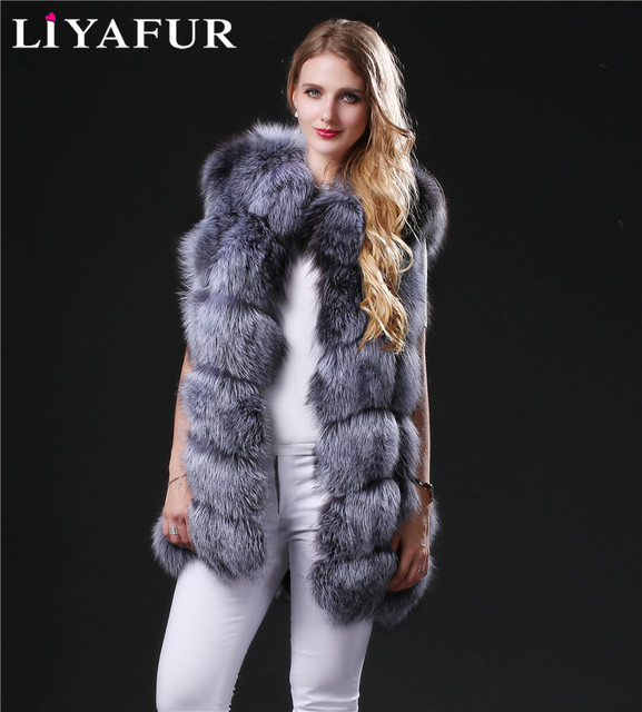 LIYAFUR Women's 100% Real Genuine Full Pelt Silver Fox Fur Long Sleeveless Vest Waistcoat Gilet Custom Made Plus Size Women
