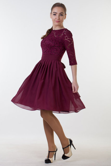 0cf3f6aceb9 Vintage Burgundy Lace Modest Bridesmaid Dresses With Sleeves Chiffon Skirt  A-line Knee Length Casual
