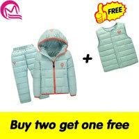 ילדים להגדיר ערכות בגדי נערי נערות חורף 1-7year hoody למטה מכנסיים + מעיל חליפת ילדים חמים בגדי שלג עמיד למים 8 צבע