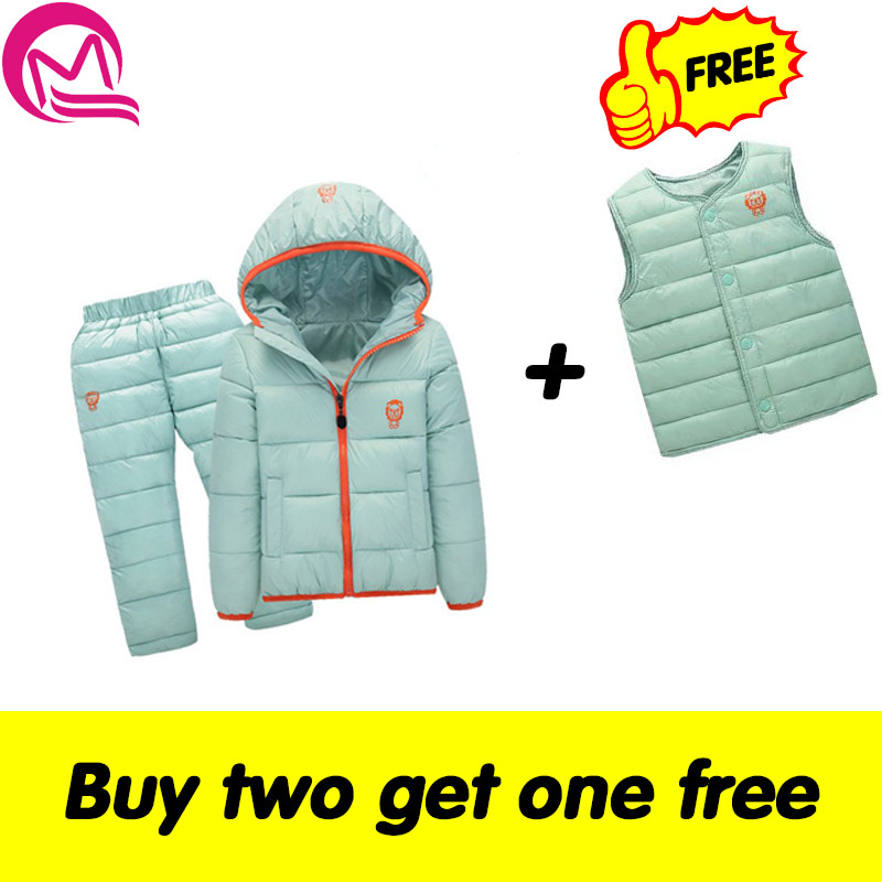 Children Set Boys girls Clothing sets winter 1-7year hoody Down Jacket + Trousers Waterproof Snow Warm kids Clothes suit 8 color winter children girls clothing sets