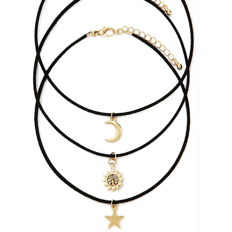 New fashion jewelry leather <font><b>moon</b></font> <font><b>star</b></font> <font><b>sun</b></font> choker necklace set 1set =3pieces gift for women girl N1778