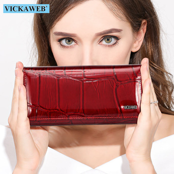 VICKAWEB Magnetic Hasp Wallet Women Genuine Leather Female Fashion Wallets Long Womens and Lady Coin Purses