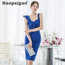 Plus Size Casual Blue Dress Women Sleeveless Ruffles Bodycon Wrap Solid Sheath Midi Vestidos Mujer Robe