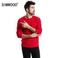 SIMWOOD 2018 Spring New Year Sweater Men Red Cabled Cotton Cashmere Slim Fit Jumper Male High
