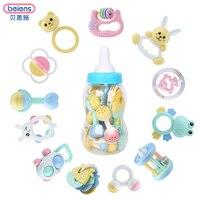 Beiens 12ピース赤ちゃんのおもちゃハンドベル組み合わせ若い赤ちゃんギフトボックス複数セットの鐘ボトル赤ちゃん手首歯咬合ベルおもちゃ
