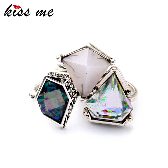 3pcs New Deign Geometric Imitation Gemstone Women Rings Set Famous Brand Jewelry