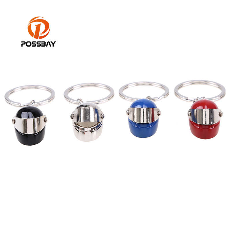 POSSBAY Car Keychain Metal Key Holder Motorcycle Bicycle Helmet Keychains Silver/Blue/Black/Red Interior Accessories Car Pendant