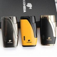 COHIBA металлическая сигарная зажигалка 2 струйная зажигалка бутан многоразовые Газовые Зажигалки ветрозащитные зажигалки для сигарет с сигары резак