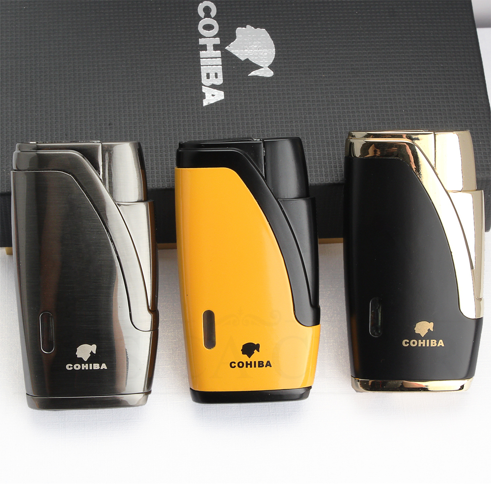 COHIBA Metal Cigar Lighter 2 Jet Torch Lighter Butane Refillable Gas Lighters Windproof Cigarette Lighters With Cigar Cutter