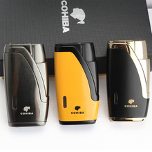 COHIBA Metal Cigar Lighter 2 Jet Torch Butane Refillable Gas Lighters Windproof Cigarette With Cutter