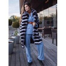 TOPFUR Classic Fashion Turndown Collar 2018 Chinchilla Winter Natural Fur Coat Women  Luxury Rex Rabbit Warm New Long Jacket