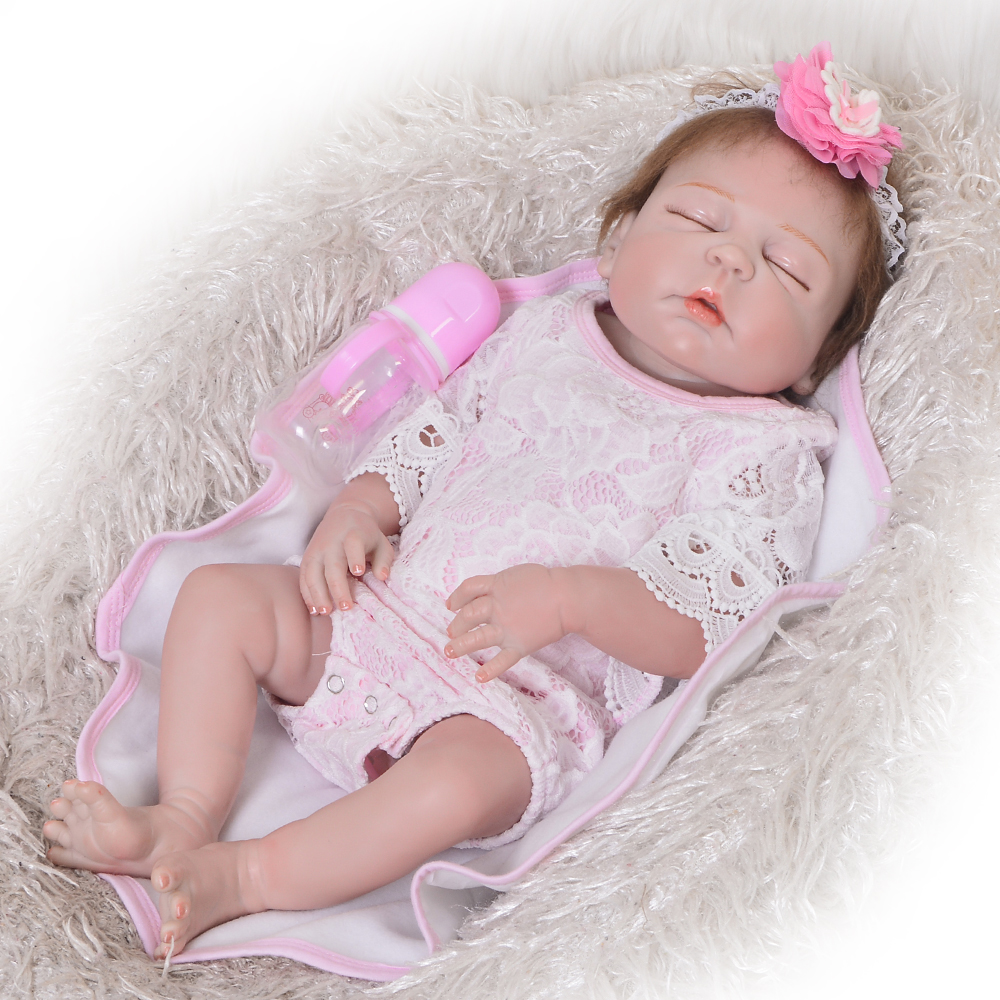 Newborn Doll 23 Inch Doll Reborn Babies Girl Full Body Silicone 57 cm Lifelike Baby Doll Toy For Kid Xmas Gifts Birthday Present 16 inch silicone reborn babies reborn doll cute full silicone baby doll for children girl birthday gift