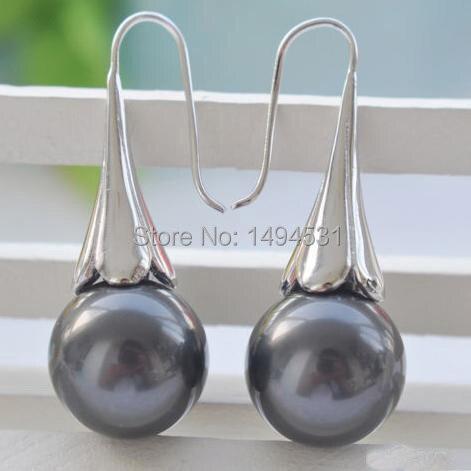 Оптовая продажа ювелирные изделия перлы 16 мм круглый черный корпус жемчуг ипомеи крюк серьги - горячая распродажа серьги - XZN16