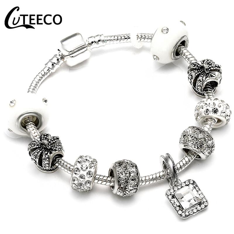 CUTEECO Европейский Любовь Сердце Шарм Браслеты и браслеты новые Марано бусины fits Дизайнерские Браслеты Женские Модные Ювелирные изделия Подарки - Окраска металла: AE030