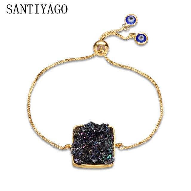 Natural Bracelets For Women Clourful Natural Stone Multicolor Irregular 2018 Fashion Crystal Druzy Bracelet Sea Gold Bracelet