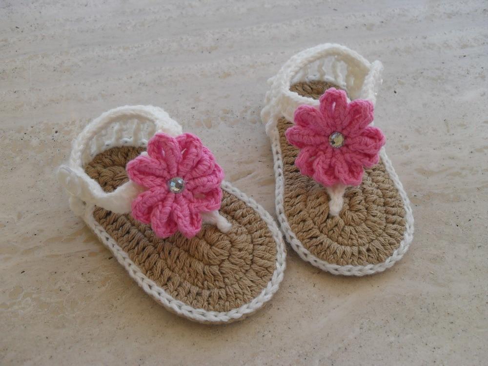 free shipping, Handmade Crochet white baby Sandals pink flower ...