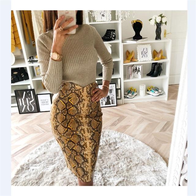2019 Fashion Sexy Snake Print Midi Pencil Skirt Women High Elastic Waist Office Lady Bodycon Knee Length Skirts Saias Faldas Muj 2