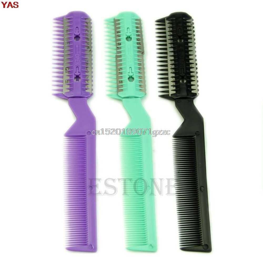 Профессиональные ножницы Главная DIY расческа для волос с лезвием парикмахерских истончение триммер панк # H027 #