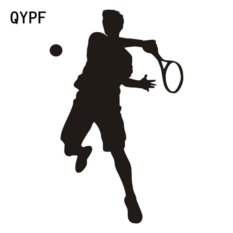 QYPF 11.4CM*18CM Car Styling Sports Tennis Fashion Vinyl Car Stickers Black Silver S2-0600