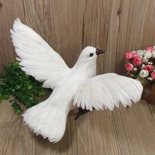 artificial bird white peace dove model about 23x30x14cm spreading wings dove handicraft home garden decoration gift