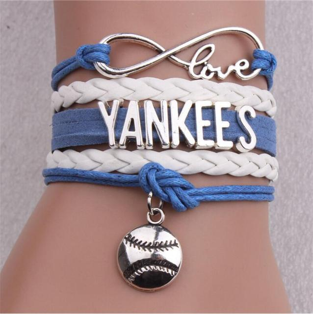 6pcs Lot Infinity Love Mlb Ny Yankees Team Bracelet Diy Sports Charm Bangles