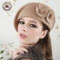 2015 Real Boina Feminina gorra plana Boina Infantil Vogue de nuevo fondo de inviernos del otoño elegante mujer fieltro de lana sombrero de la Boina [ gen-313 ]