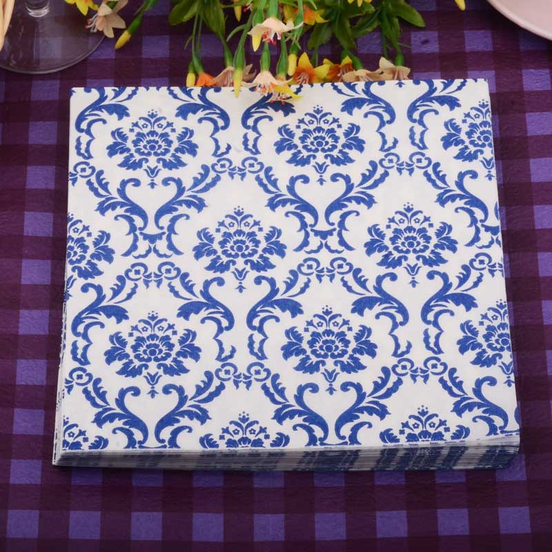 20pcs/lot Chinese style Blue and white porcelain paper Napkin wedding napkin table dinner paper Tissues wedding party supplies