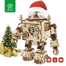 Robud Robot Model with Music Box DIY 3D Wooden Puzzle Assembled Punk Wooden Mechanial Boys & Girls Gift AM601 for Dropshipping(China)