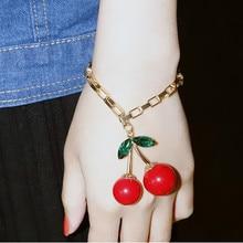 Newest Hot sale vintage sweet cherry bracelet golden metal box chain women bracelets bangles Fashion jewelry Free shipping